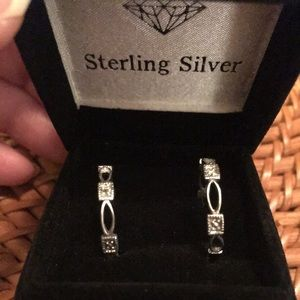 NWT Avon Sterling Silver Diamond Hoop Earrings